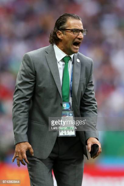 Juan Antonio Pizzi Head coach of Saudi Arabia gives his team instructions during the 2018 FIFA World Cup Russia Group A match between Russia and...
