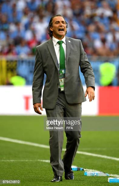 Juan Antonio Pizzi Head coach of Saudi Arabia issues instructions during the 2018 FIFA World Cup Russia group A match between Uruguay and Saudi...