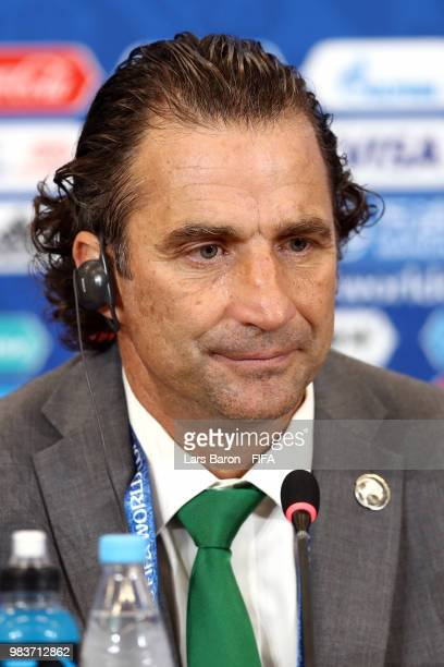 Juan Antonio Pizzi Head coach of Saudi Arabia looks on during a press conference after the 2018 FIFA World Cup Russia group A match between Saudia...