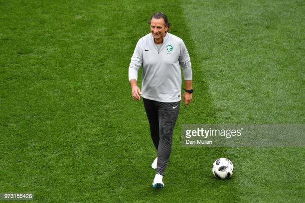 Juan Antonio Pizzi Head coach of Saudi Arabia looks on during a Saudi Arabia training session ahead of the 2018 FIFA World Cup opening match against...