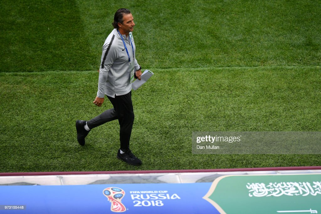 Juan Antonio Pizzi, Head coach of Saudi Arabia looks on during a Saudi Arabia training session ahead of the 2018 FIFA World Cup opening match against Russia at Luzhniki Stadium on June 13, 2018 in Moscow, Russia.