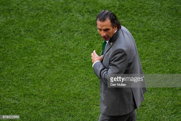 Juan Antonio Pizzi Head coach of Saudi Arabia looks on during the 2018 FIFA World Cup Russia group A match between Uruguay and Saudi Arabia at Rostov...