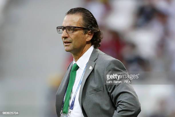 Juan Antonio Pizzi Head coach of Saudi Arabia looks on during the 2018 FIFA World Cup Russia group A match between Saudia Arabia and Egypt at...