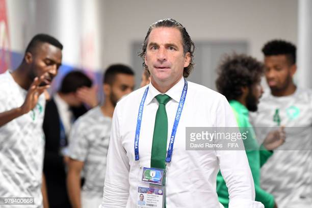 Juan Antonio Pizzi Head coach of Saudi Arabia looks on from the tunnel before the warm up prior to the 2018 FIFA World Cup Russia group A match...