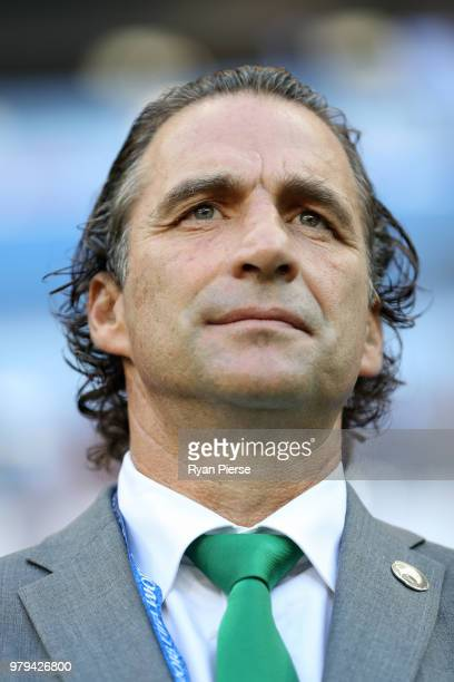 Juan Antonio Pizzi Head coach of Saudi Arabia looks on prior to the 2018 FIFA World Cup Russia group A match between Uruguay and Saudi Arabia at...