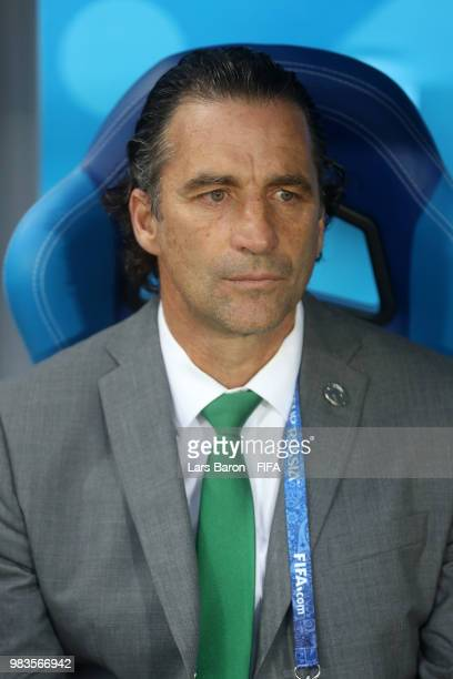 Juan Antonio Pizzi Head coach of Saudi Arabia looks on prior to the 2018 FIFA World Cup Russia group A match between Saudia Arabia and Egypt at...