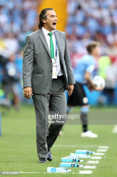 Juan Antonio Pizzi Head coach of Saudi Arabia reacts during the 2018 FIFA World Cup Russia group A match between Uruguay and Saudi Arabia at Rostov...
