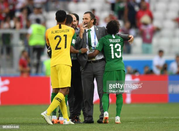 Juan Antonio Pizzi Head coach of Saudi Arabia Salman Alfaraj of Saudi Arabia Yasser Almosailem of Saudi Arabia and Yasir Alshahrani of Saudi Arabia...