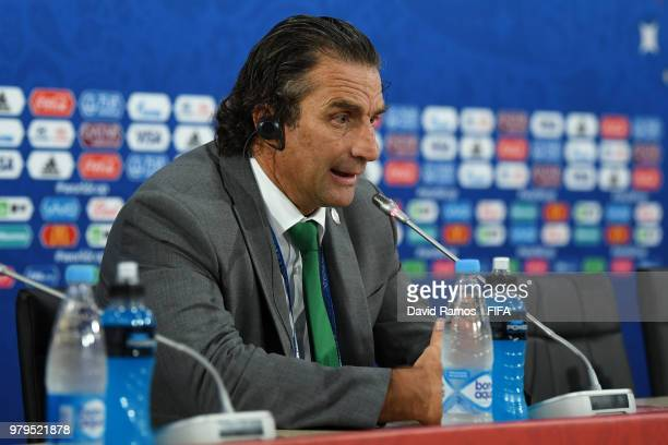 Juan Antonio Pizzi Head coach of Saudi Arabia speaks during a press conference after the 2018 FIFA World Cup Russia group A match between Uruguay and...