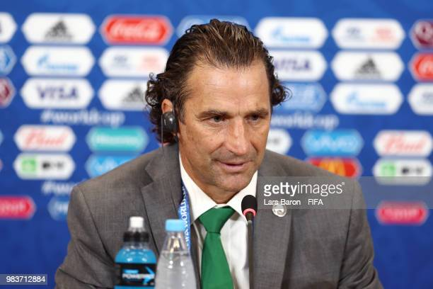 Juan Antonio Pizzi Head coach of Saudi Arabia speaks during a press conference after the 2018 FIFA World Cup Russia group A match between Saudia...