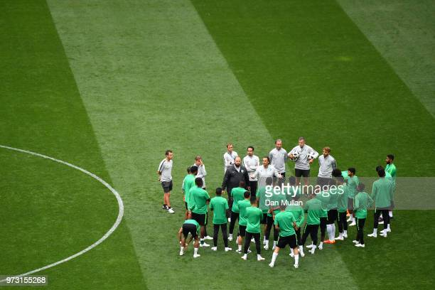 Juan Antonio Pizzi Head coach of Saudi Arabia speaks to his players during a Saudia Arabia training session ahead of the 2018 FIFA World Cup opening...