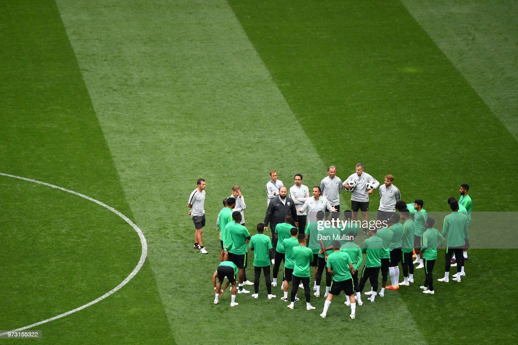 Juan Antonio Pizzi, Head coach of Saudi Arabia speaks to players during a Saudi Arabia training session ahead of the 2018 FIFA World Cup opening match against Russia at Luzhniki Stadium on June 13, 2018 in Moscow, Russia.