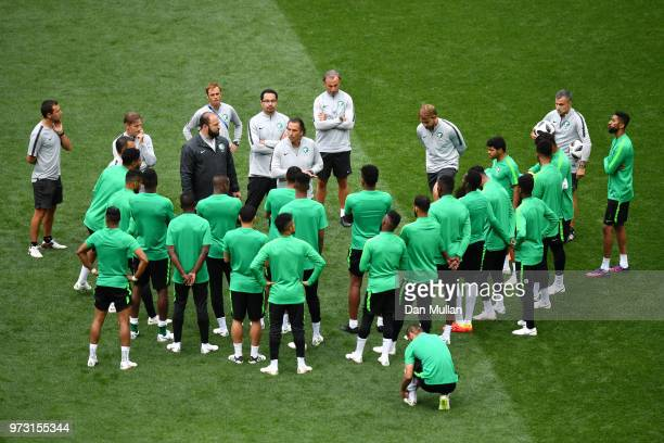 Juan Antonio Pizzi Head coach of Saudi Arabia speaks to players during a Saudi Arabia training session ahead of the 2018 FIFA World Cup opening match...