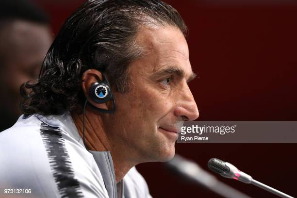 Juan Antonio Pizzi Head coach of Saudi Arabia speaks to the media during a press conference ahead of the 2018 FIFA World Cup opening match against...
