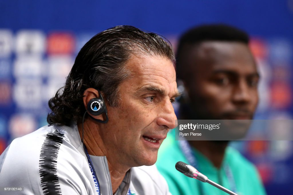 Juan Antonio Pizzi, Head coach of Saudi Arabia speaks to the media during a press conference ahead of the 2018 FIFA World Cup opening match against Saudia Arabia at Luzhniki Stadium on June 13, 2018 in Moscow, Russia.