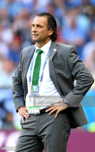 Juan Antonio Pizzi Head coach of Saudi Arabialooks on during the 2018 FIFA World Cup Russia group A match between Uruguay and Saudi Arabia at Rostov...