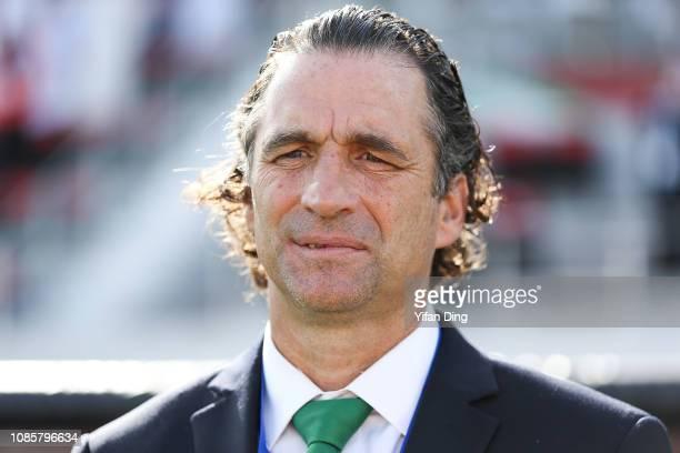 Juan Antonio Pizzi headcoach of Saudi Arabia looks prior to the AFC Asian Cup round of 16 match between Japan and Saudi Arabia at Sharjah Stadium on...