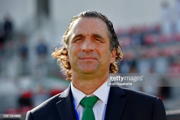 Juan Antonio Pizzi Manager of Saudi Arabia looks on prior to the AFC Asian Cup round of 16 match between Japan and Saudi Arabia at Sharjah Stadium on...