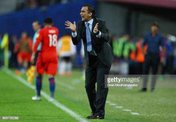 Juan Antonio Pizzi of Chile gestures during the FIFA Confederations Cup Russia 2017 Final between Chile and Germany at Saint Petersburg Stadium on...
