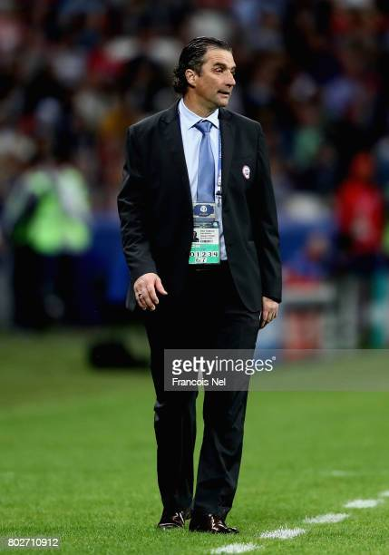 Juan Antonio Pizzi of Chile looks on during the FIFA Confederations Cup Russia 2017 SemiFinal between Portugal and Chile at Kazan Arena on June 28...