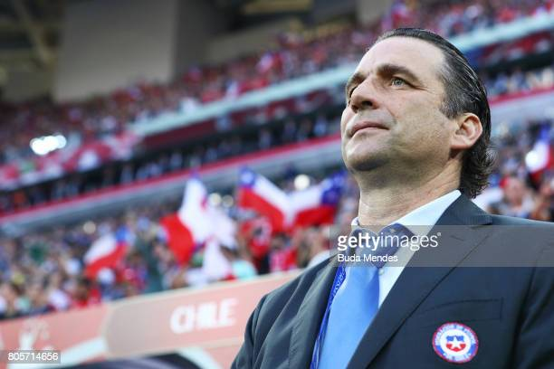 Juan Antonio Pizzi of Chile looks on prior to the FIFA Confederations Cup Russia 2017 Final between Chile and Germany at Saint Petersburg Stadium on...