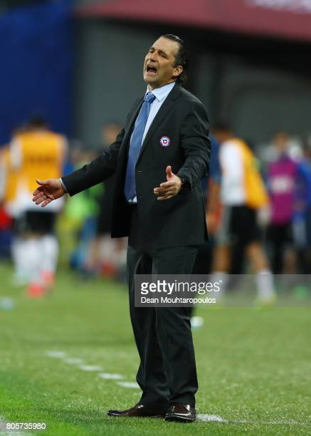 Juan Antonio Pizzi of Chile reacts during the FIFA Confederations Cup Russia 2017 Final between Chile and Germany at Saint Petersburg Stadium on July...