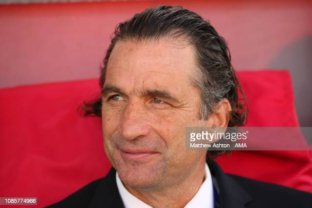 Juan Antonio Pizzi the head coach / manager of Saudi Arabia looks on prior to the AFC Asian Cup round of 16 match between Japan and Saudi Arabia at...