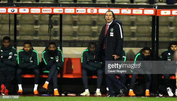 Juan Antonio Pizzi the Saudi Arabia manager looks on during the international friendly match between Belgium and Saudi Arabia at the King Baudouin...