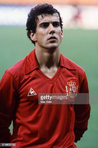 Juan Antonio Senor during the Football European Championship between Romania and Spain at Stade Geoffroy Guichard SaintEtienne France on 14 June 1984