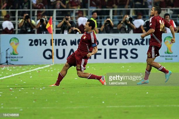Juan Arango celebrates a goal during a match between Venezuela and Ecuador during 2014 world cup qualifying soccer game at Jose Antonio Anzoategui...
