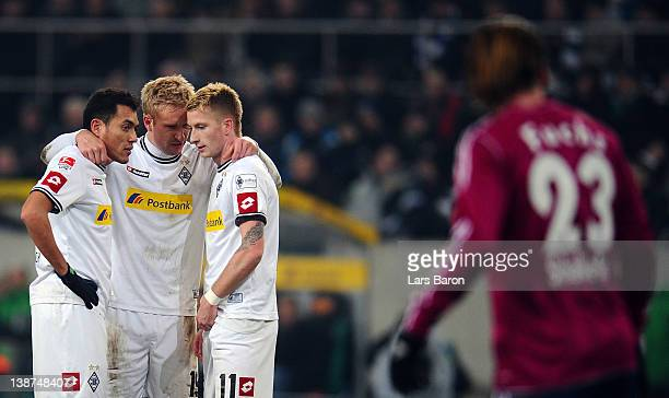 Juan Arango Mike Hanke and Marco Reus stand together during the Bundesliga match between Borussia Moenchengladbach and FC Schalke 04 at Borussia Park...