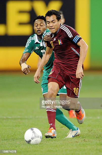 Juan Arango of the Venezuela National Soccer Team in action during an exhibition game against the Nigeria Soccer Teamat Marlins Park on November 14...