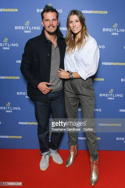 Juan Arbelaez and Laury Thilleman attend the Breitling 1884 flagship reopening party at 10 rue de la Paix on October 03 2019 in Paris France
