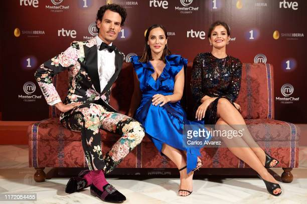 Juan Avellaneda Tamara Falco and Marta Torne attend 'Masterchef Celebrity' premiere at Teatro Principal on September 03 2019 in VitoriaGasteiz Spain