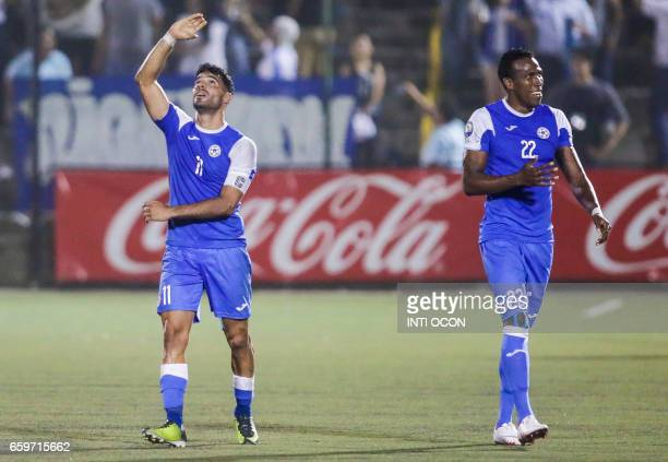 Juan Barrera from Nicaragua celebrates his goal against Haiti during the second match of Nicaragua vs Haiti semifinal for the 2017 Gold Cup at the...