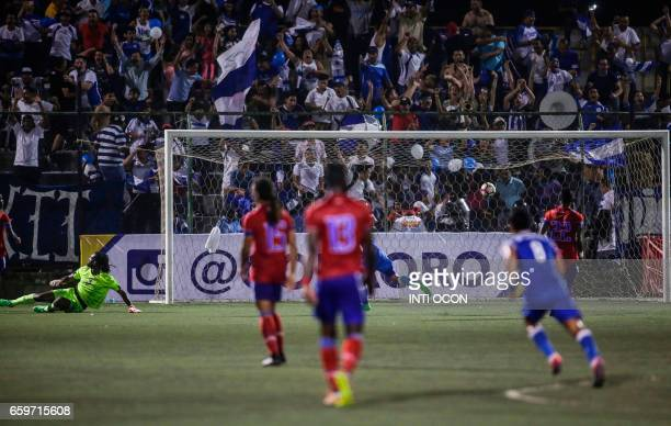 Juan Barrera from Nicaraguan makes the third goal against Haiti during the second match of Nicaragua vs Haiti semifinal for the 2017 Gold Cup at the...