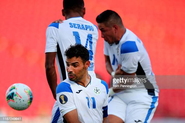 Juan Barrera of Nicaragua blocks a penalty kick against Haiti in the second half of the Nicaragua v Haiti Group B 2019 CONCACAF Gold Cup at Toyota...