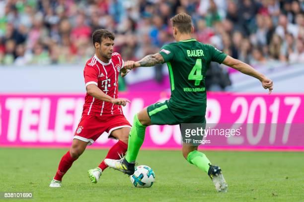 Juan Bernat of Bayern Muenchen und Robert Bauer of Bremen battle for the ball during the Telekom Cup 2017 Final between SV Werder Bremen and FC...