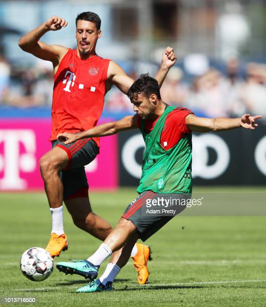 Juan Bernat of Bayern Munich in action during FC Bayern Muenchen pre season training on August 9, 2018 in Rottach-Egern, Germany.