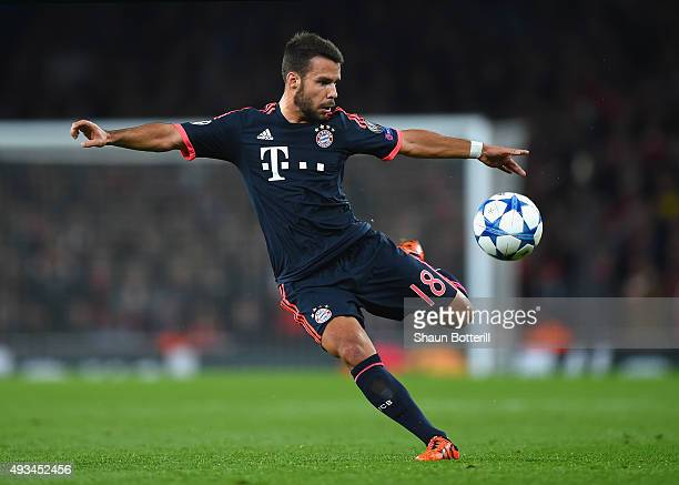 Juan Bernat of Bayern Munich in action during the UEFA Champions League Group F match between Arsenal FC and FC Bayern Munchen at Emirates Stadium on...