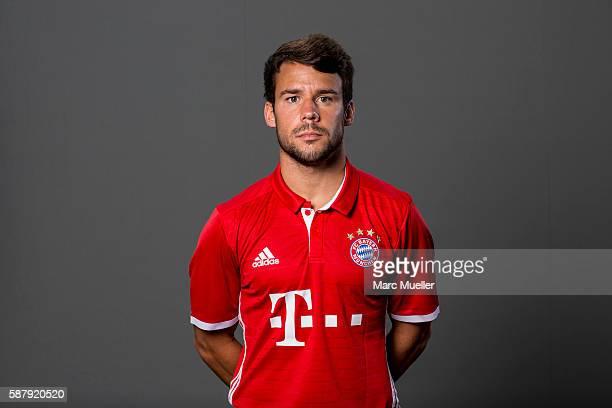 Juan Bernat of FC Bayern Munich pose during the team presentation on August 10 2016 in Munich Germany
