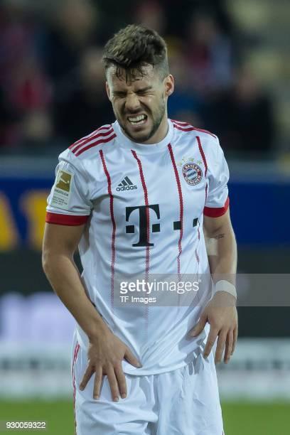 Juan Bernat of Muenchen gestures during the Bundesliga match between SportClub Freiburg and FC Bayern Muenchen at SchwarzwaldStadion on March 4 2018...