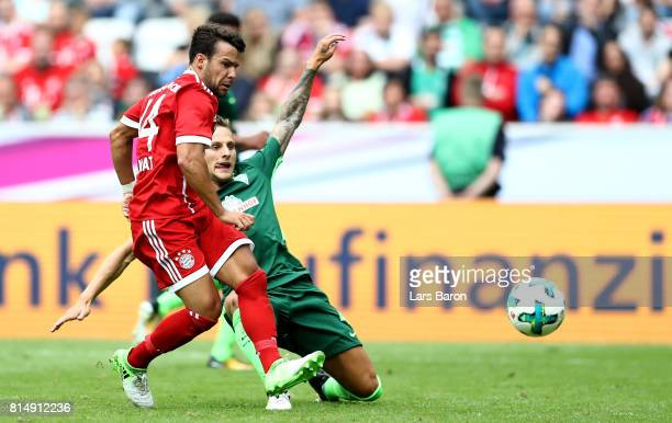Juan Bernat of Munchen scores his teams second goal during the Telekom Cup 2017 Final between SV Werder Bremen and FC Bayern Muenchen at Borussia...