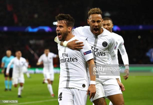 Juan Bernat of Paris SaintGermain celebrates after scoring his sides first goal with Neymar of Paris SaintGermain during the UEFA Champions League...