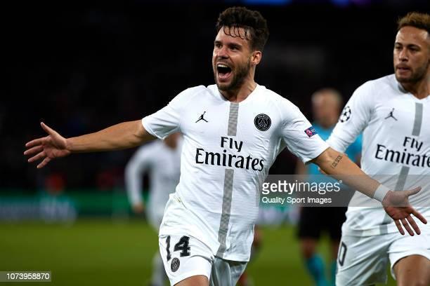 Juan Bernat of Paris SaintGermain celebrates after scoring his sides first goal during the Group C match of the UEFA Champions League between Paris...