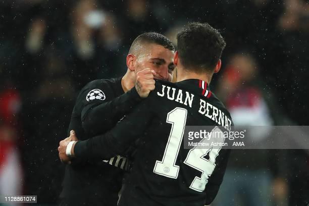 Juan Bernat of Paris SaintGermain celebrates scoring a goal to make the score 11 with Marco Verrati during the UEFA Champions League Round of 16...