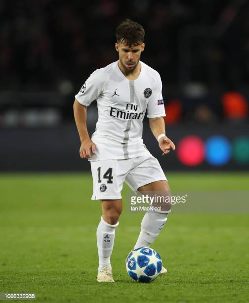 Juan Bernat of Paris SaintGermain controls the ball during the Group C match of the UEFA Champions League between Paris SaintGermain and Liverpool at...