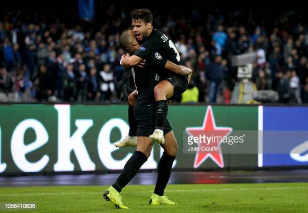 Juan Bernat of PSG celebrates his goal with Kylian Mbappe during the Group C match of the UEFA Champions League between SSC Napoli and Paris...