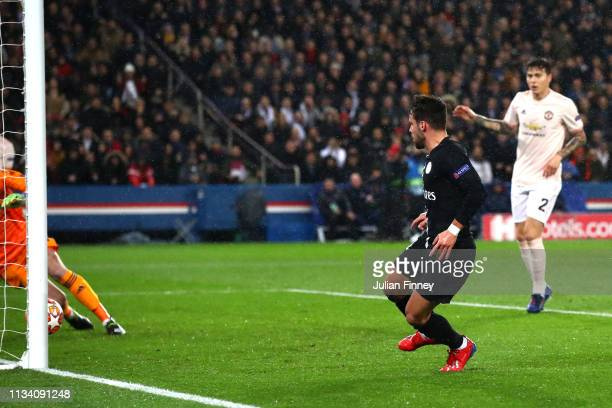 Juan Bernat of PSG scores his sides first goal during the UEFA Champions League Round of 16 Second Leg match between Paris SaintGermain and...
