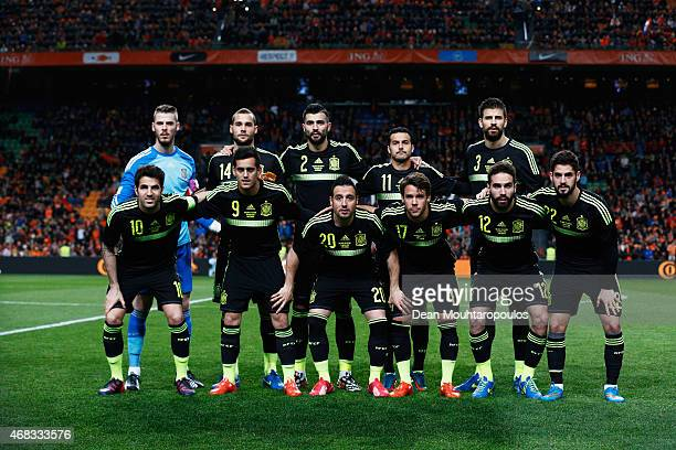 Juan Bernat of Spain looks on as he stands for the national anthems prior to the international friendly match between the Netherlands and Spain held...